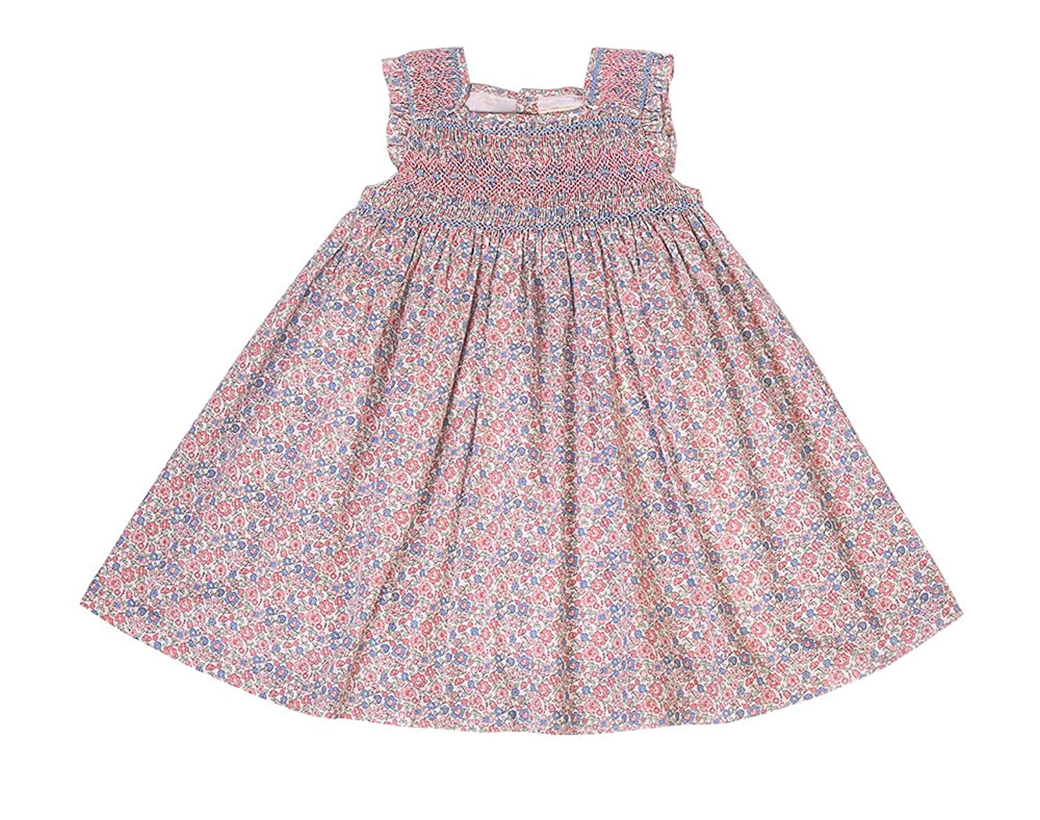 e6f5f9e72fe4 Get Quotations · Phlona Little Girls' Rose and Blue Floral Smocked Dress