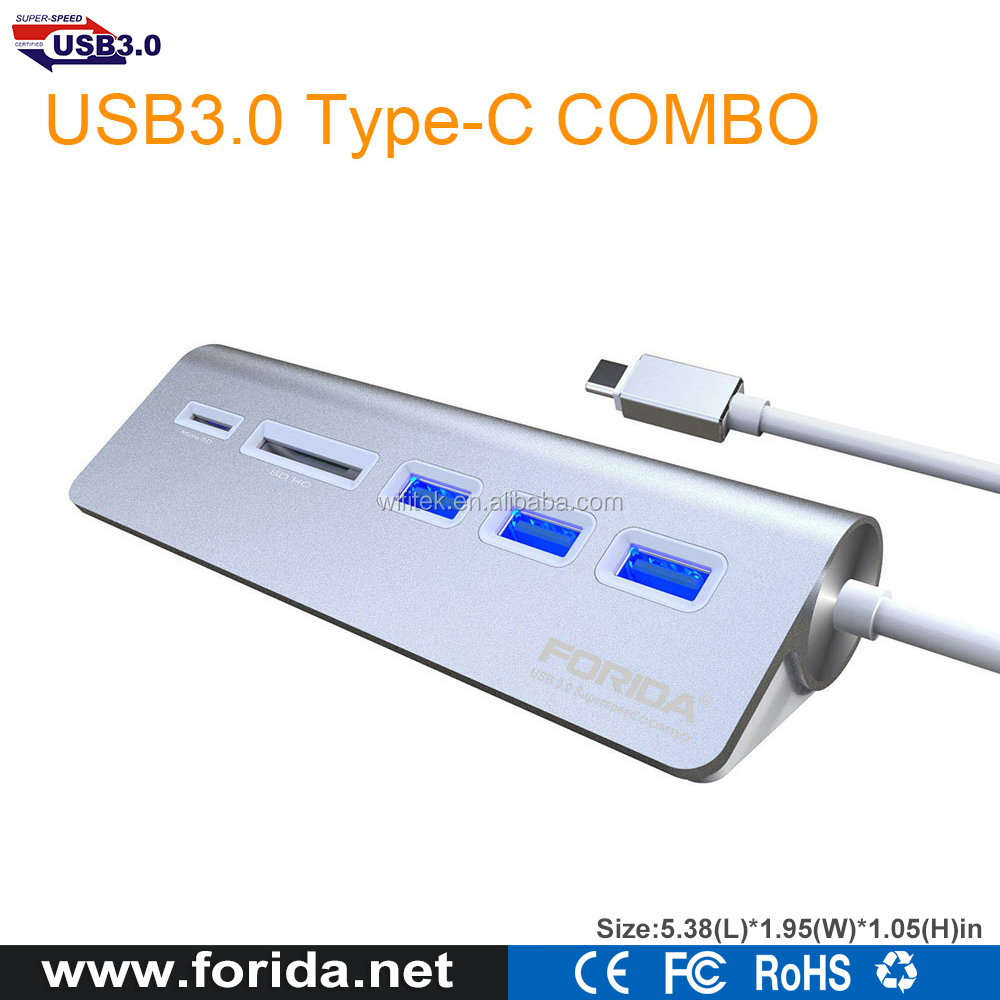Aluminum alloy 3 Ports Hub/Type-C to usb 3.0 memory card reader and usb hub for macbook