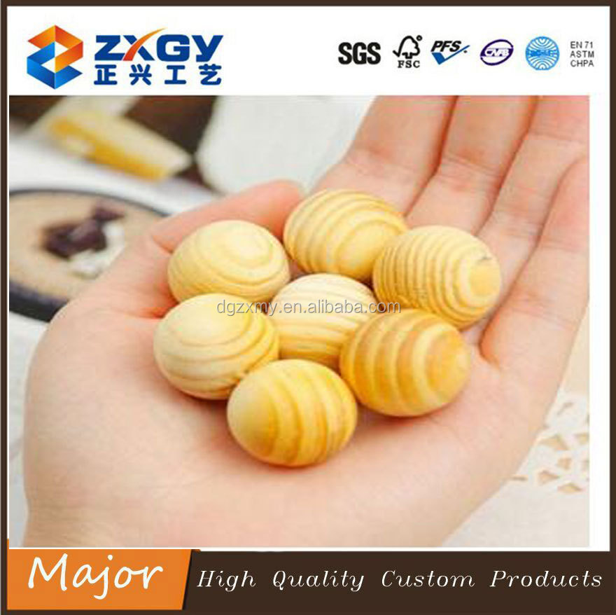 Custom Available Natural Round 30mm Wood Beads For Jewelry Making