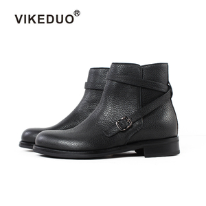 VIKEDUO Hand Made Breathable Pebble Grain Black Calfskin Lichee Pattern Leather Jodhpur Boots For Men Shoes