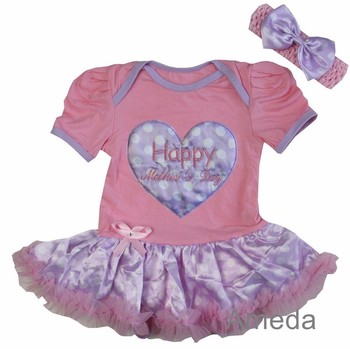 Baby Happy Mother's Day Heart Light Pink Polka Dots Lavender Bodysuit Tutu and Headband