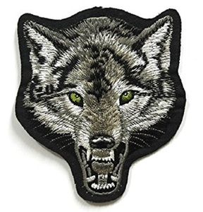 Big Face Wolf Gray Patch Sew Iron on Logo Embroidered Badge Sign Emblem Costume