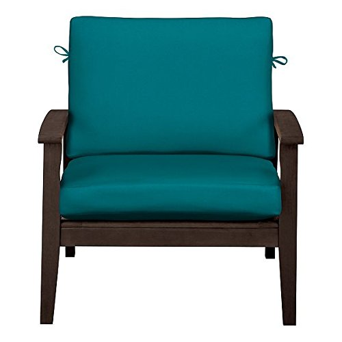 """Home Improvements Outdoor Patio Deep Seat Relaxed Chair Cushion Set Seasonal Replacement Cushions 17""""x24""""x4-1/2"""" back; 24""""x24""""x4-1/2"""" seat, 27 Prints/Colors (Teal Blue)"""