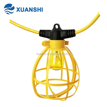 100ft 14/2 yellow outdoor temporary cage light string with S14 bulbs