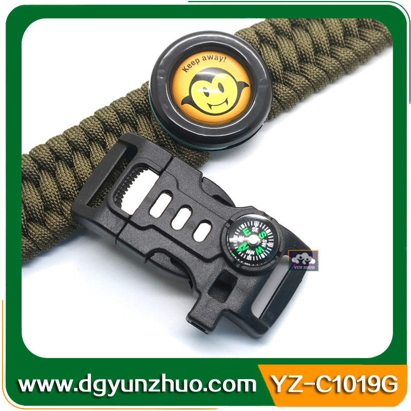 Flint Fire Starter Survival Curved whistle buckle with compass