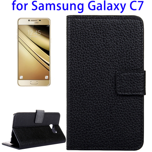 Free Sample Black PU Mobile Phone Case, Back Cover for Samsung C7