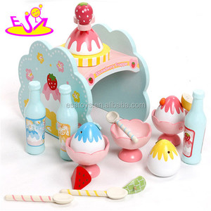 New wooden ice cream maker toy, wooden food maker toy, ice cream toy set for baby W10D114