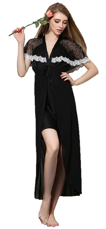 7276629c78 Get Quotations · Danyer Women Sleepwear Satin Deep V High Split Long Romper  Nightdress