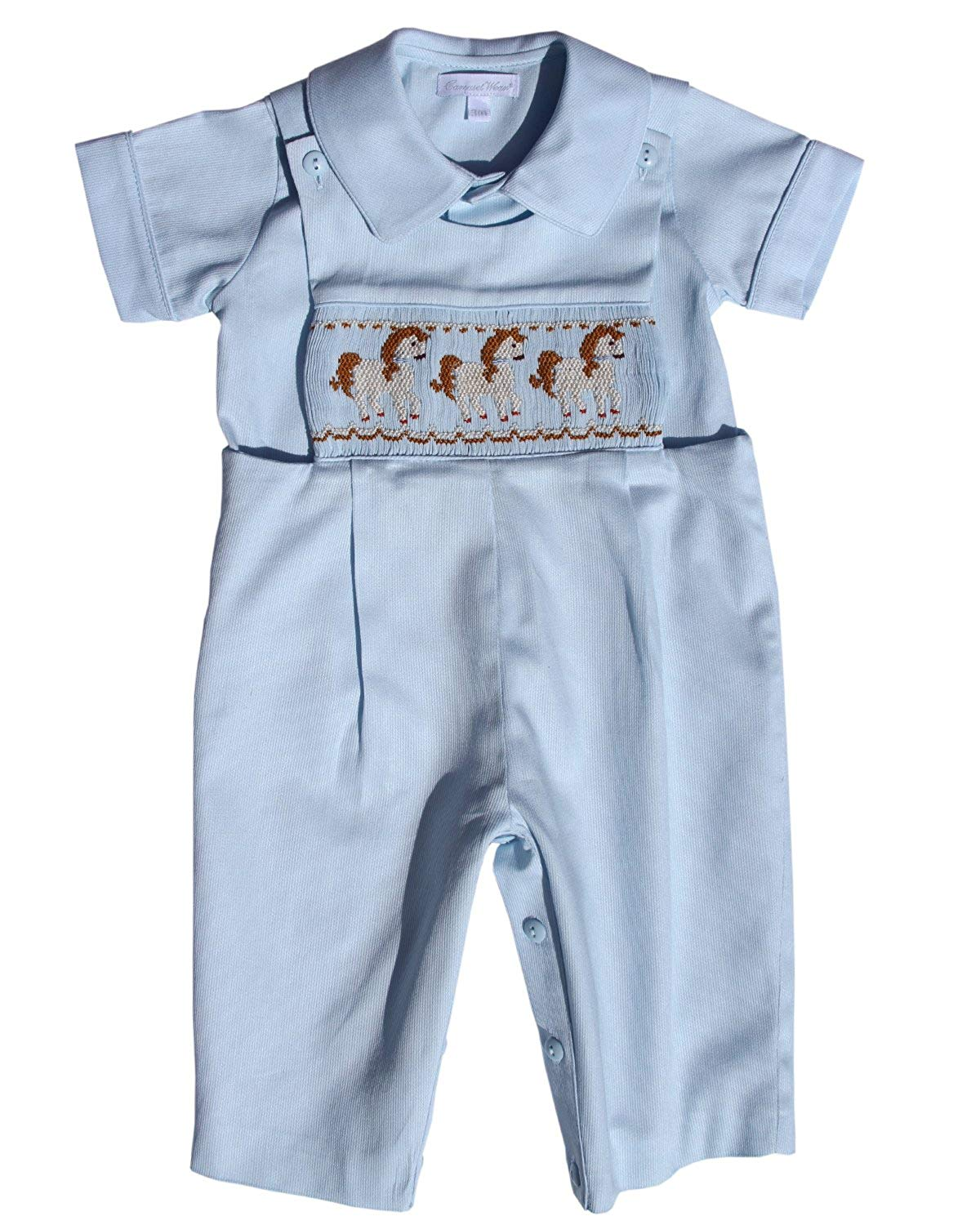 2b50570781ef Carouselwear Baby Boy Blue Longall Overalls with Smocked Carousel Horses