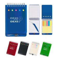 OEM shape stationery office portable compact square pp plastic envelope memo block paper 5 color index tag flag note sticker pad