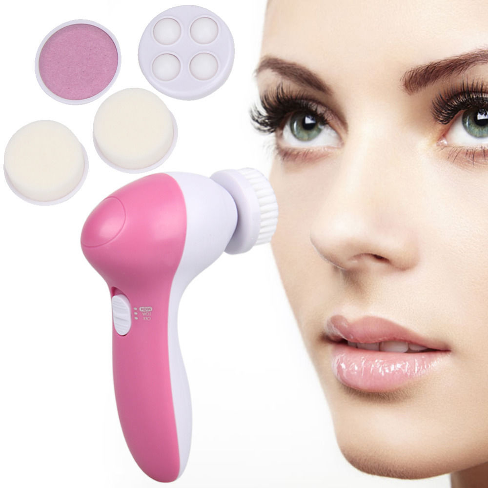 Private Label Waterproof Facial Cleansing Brush 5 in 1 Face Cleansing Brush For 360 Degree Face Deeply Clean