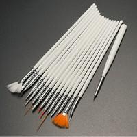 BIN Wood handle 15pcs nail Art fan brush Sets
