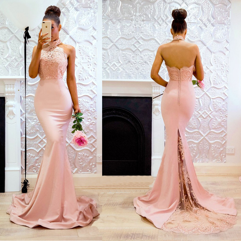Rosa Backless halter prom cocktail langes kleid kleid abend Brautjungfer frauen kleider