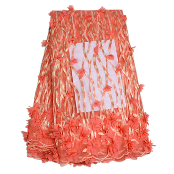 3D Flower Design Peach Color African French Net Tulle Lace For Dresses