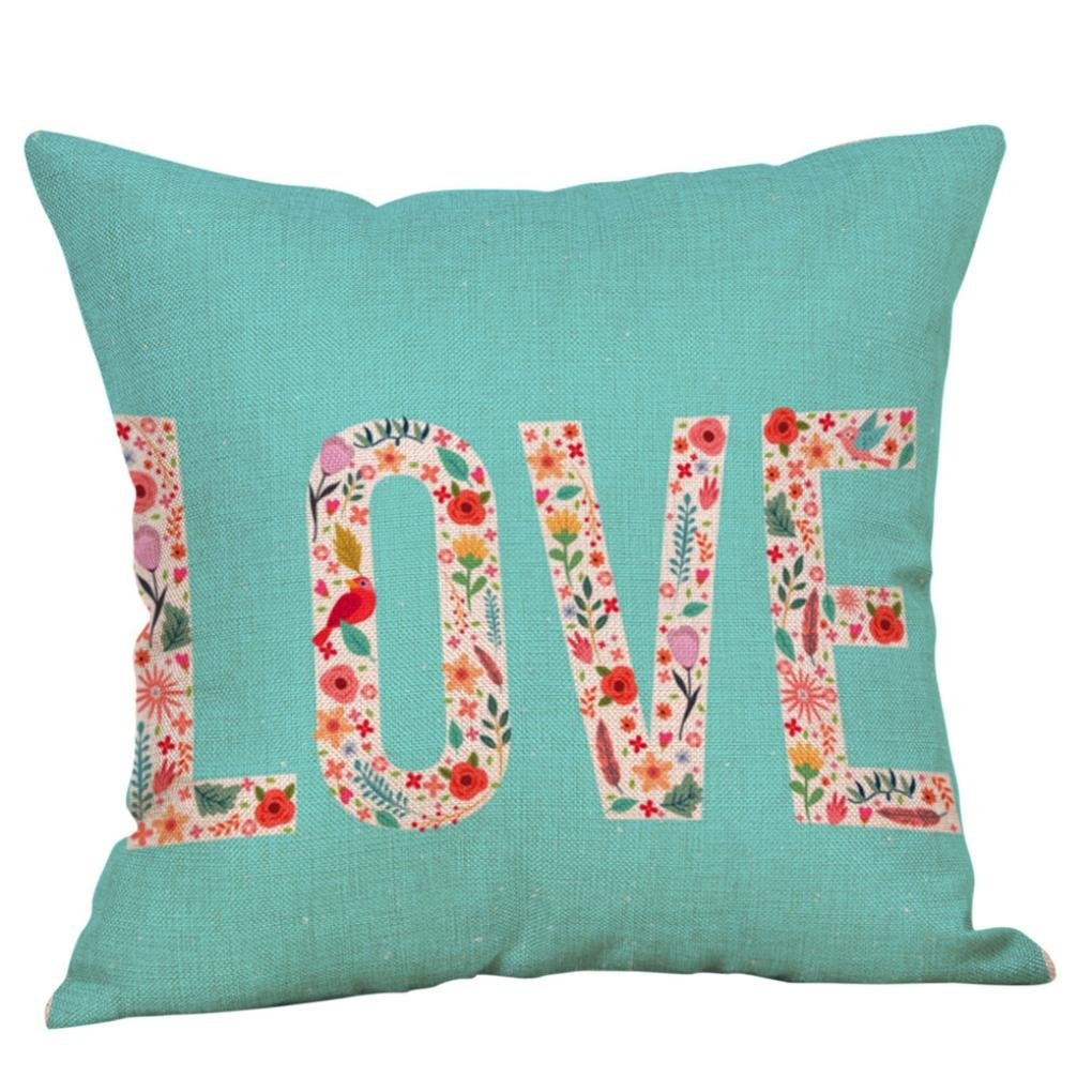 "Happy Valentine's Day, SINMA Hot Sales ""LOVE"" Letter Printed Sweet Decorative Pillow Cover Throw Pillow Case Eco-Friendly Cushion Cover for Bed Room Sofa Home Decor 18""x18"" (C1)"