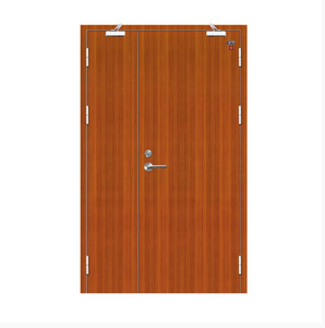 Factory wholesale beautiful color unequal double leaf fireproof solid wood door