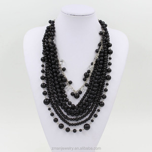 2015 Fashion Black Color Necklace Beads,Long Multi Strand Pearls Necklace