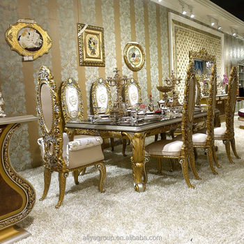 Aa33 Fancy Dining Table With Chairs For 8 People European Clic Golden Carving