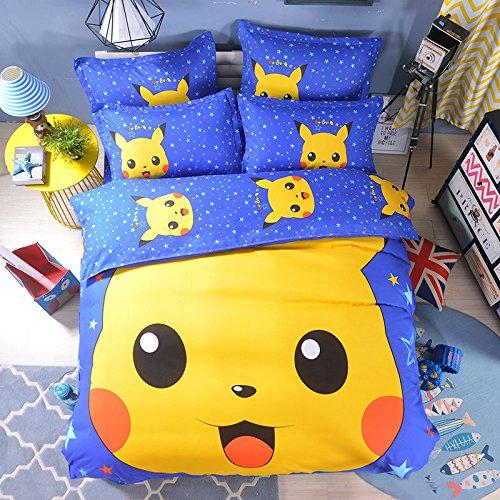 Ln 3 Piece Kids Cute Blue Yellow Pikachu Duvet Cover Twin Set, Adorable Pokemon Theemed Bedding Anime Cartoon Pika Chu Poke Mon, Cotton Polyester