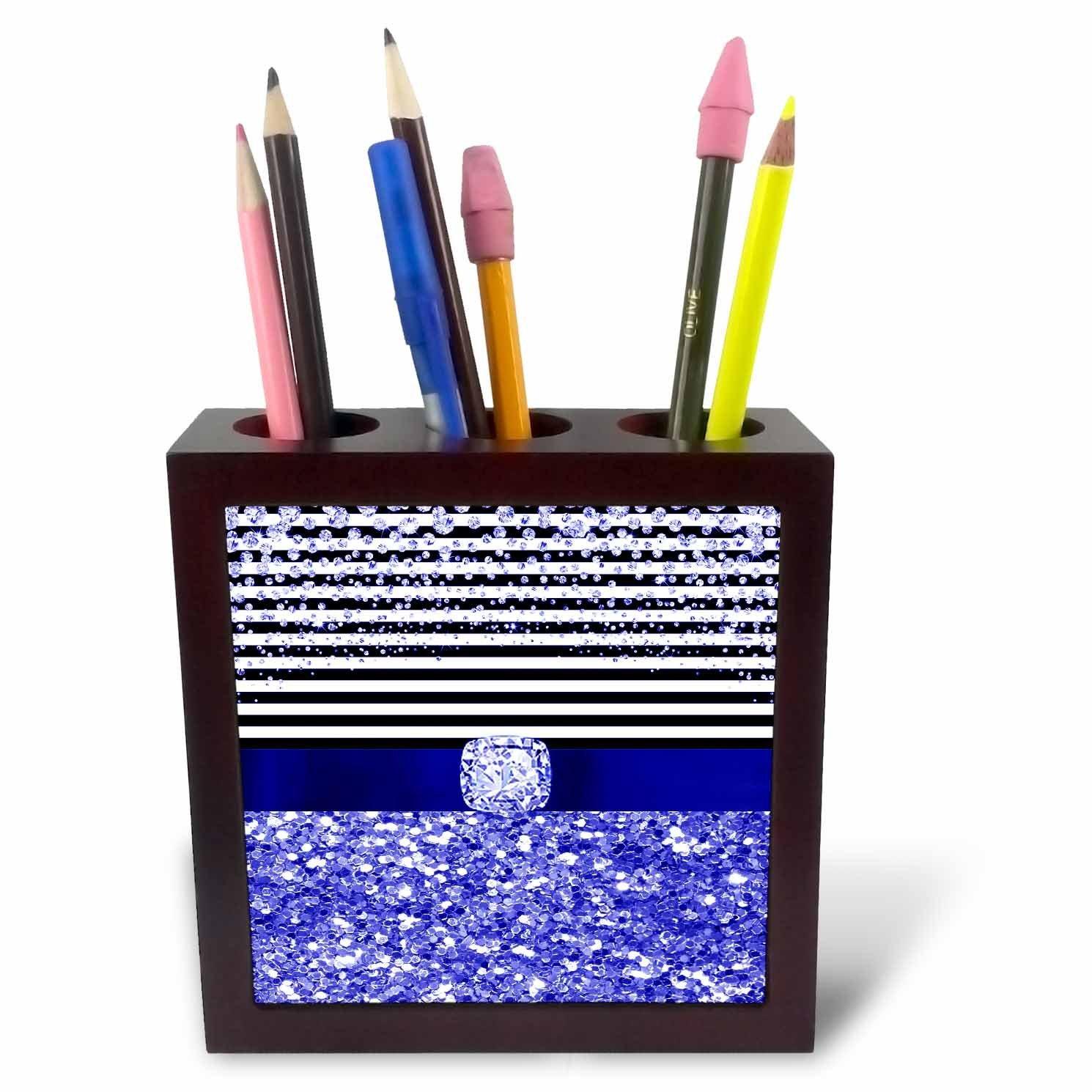 3dRose Anne Marie Baugh - Glitter and Chic - Diamond Stripes, Blue Digital Glitter and Diamond Design - 5 inch tile pen holder (ph_267801_1)