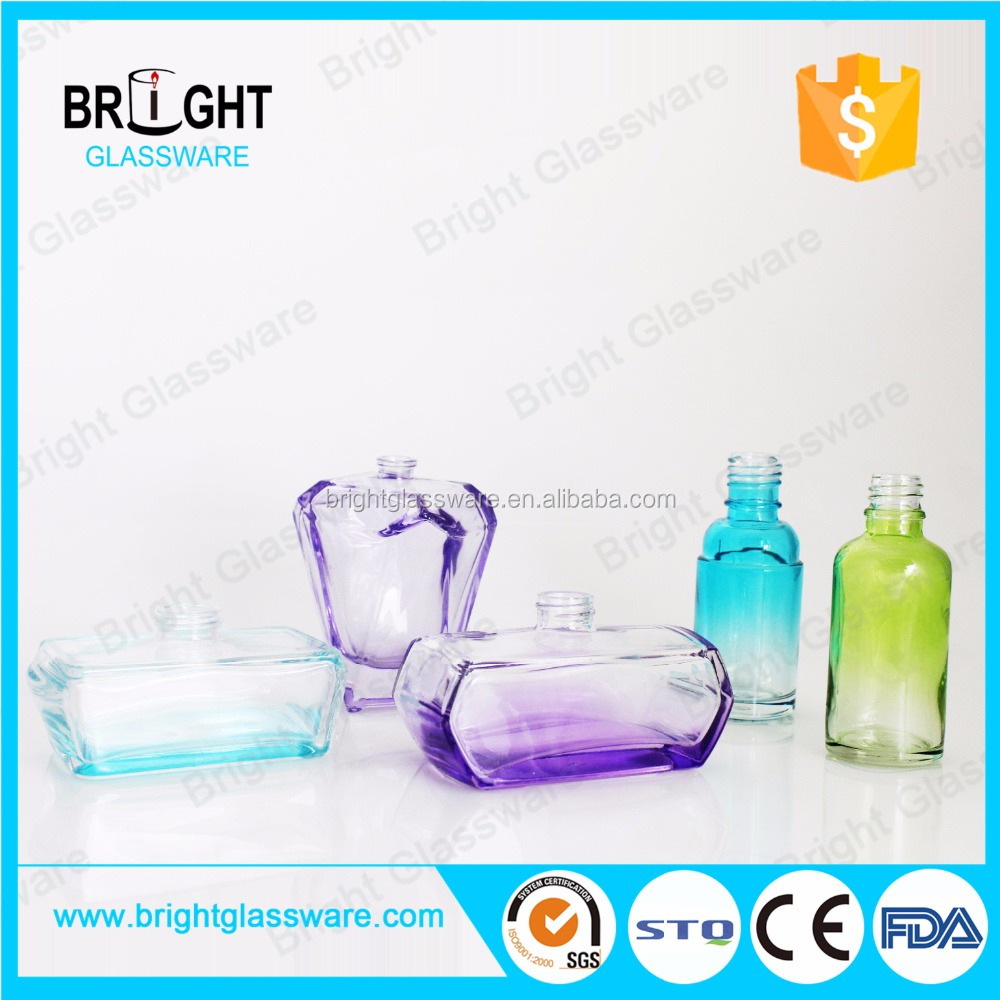Custom shape oval glass scent bottles wholesale for spray pump sealing type