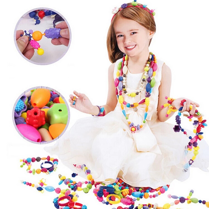Colorful girls beauty toy plastic diy kid bead set