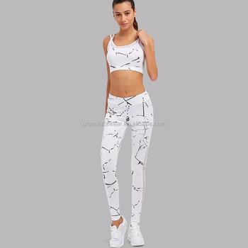 a7d3a0d295 Customized 2Pcs Women Yoga Sets Fitness Bra+Pants Leggings Set Gym Workout  Sports Wear Mesh