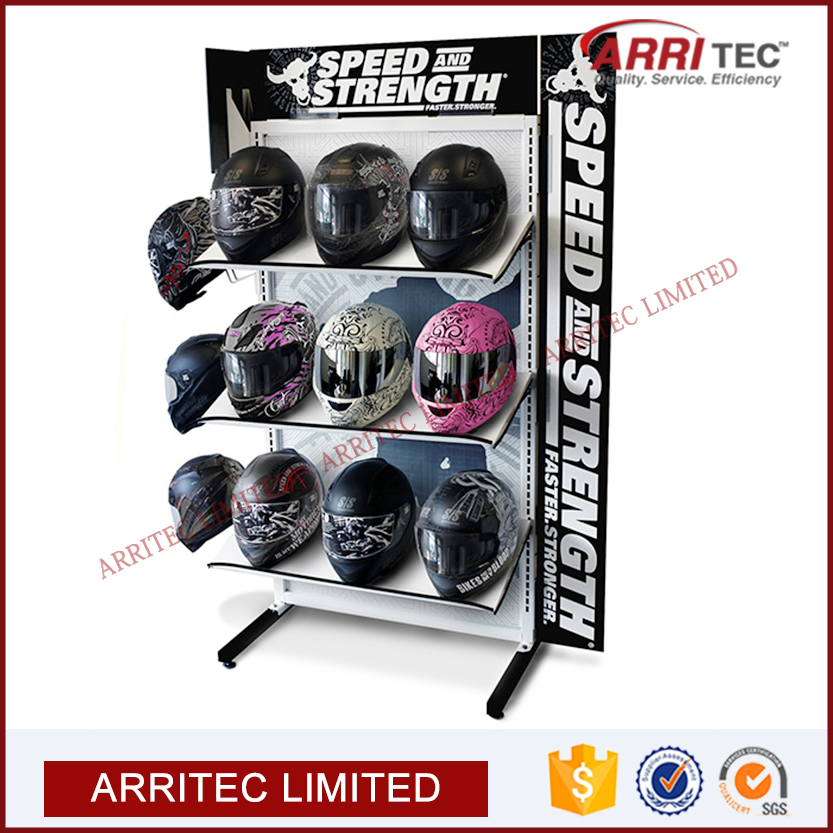 Sports Retail Store Helmet Rack Display Stand