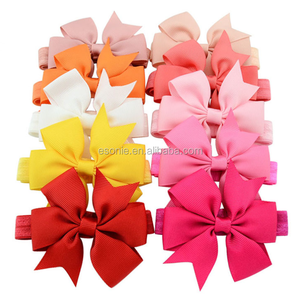 Wholesale color ribbon baby girl butterfly headband