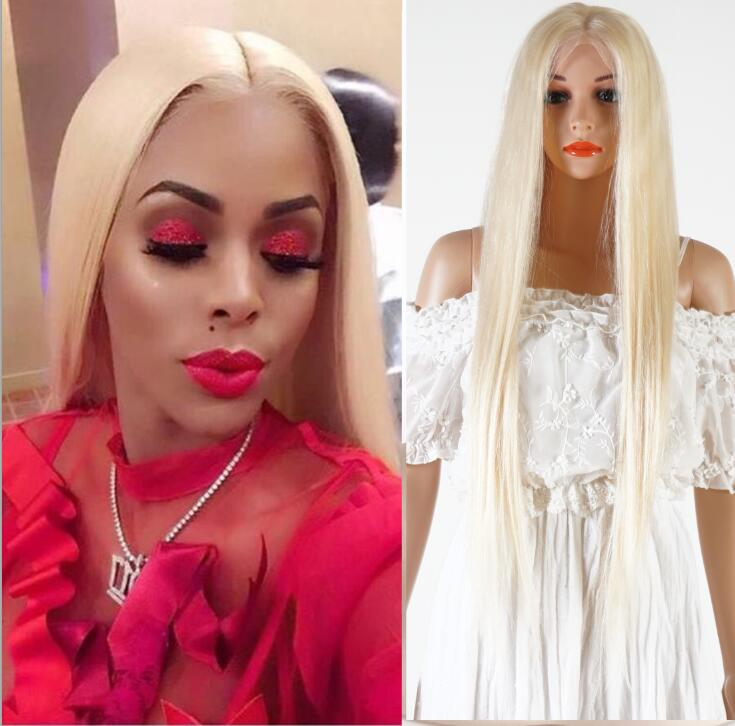 Alibaba.com / 100 brazilian virgin hair Middle part #613 Long Platinum blonde human hair full lace wig