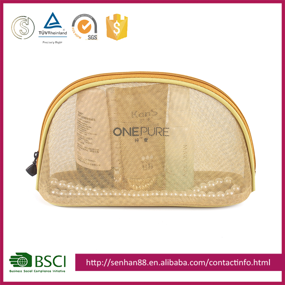 cheap price gold Support Custom colors nylon Transparent fashion elegant ladies eco beauty cosmetic bag