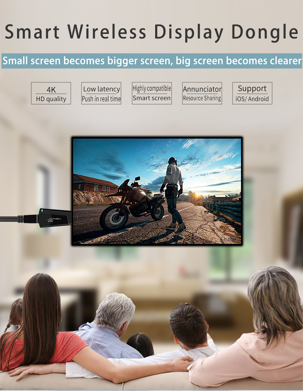 2.4G+5G miracast wifi display anycast dongle for iPhone Xs Max iOS13 Screen Mirroring 2K 4K Ultra TV Streaming