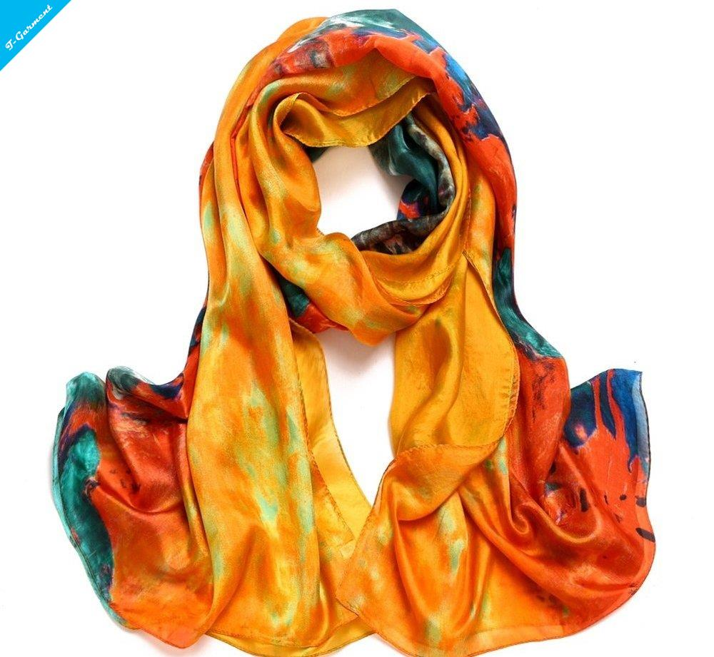 Summer Style Thin 180 * 110cm 3 Colors Women Fashion Impression Painting Print Design 100% REAL SILK Scarf Wraps shawl ZS71