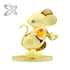 Crystocraft Business Gift Gold Plated Metal 12 Chinese Zodiac Decorated with Crystals from Swarovski Rat Figurine