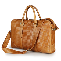 7339B Brown-yellow Latest Products Fashion Genuine Cow Leather Lady Briefcase Handbag