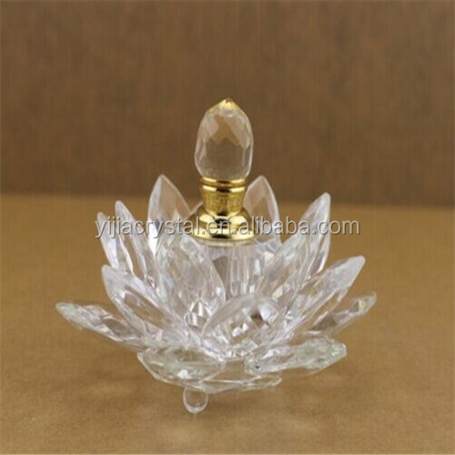 Promotional Elegant Lotus Shaped Crystal Perfume Bottle/fashion design crystal perfume bottle crystal perfume bottle