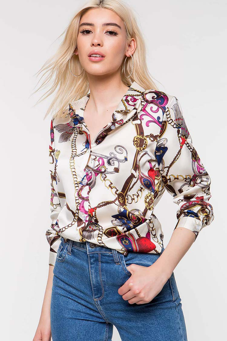 Euramerican printed turn-down collar curb chain printed long sleeve women blouse long shirt