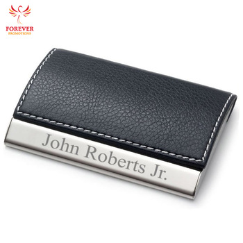 Custom Personalized Magnetic Laser Engraved Pocket Case Pu Leather Clic Metal Name Business Card Holder