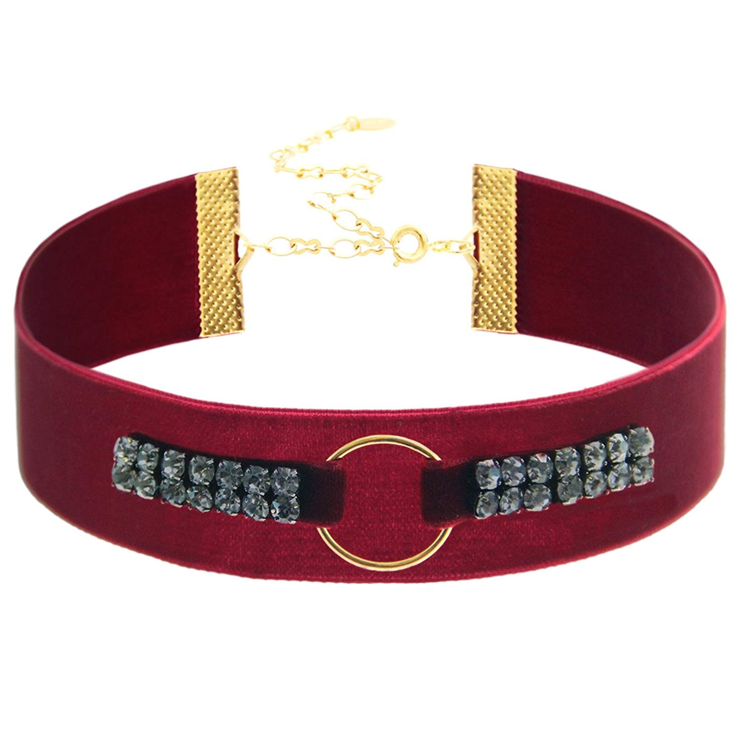 "Choker Necklace Maroon Velvet with Gray Crystal and Circle Choker. <br>18K Gold Plated.Length: 11"" with 4"" extender. Width: 25mm. Circle Size: 20mm in diameter."