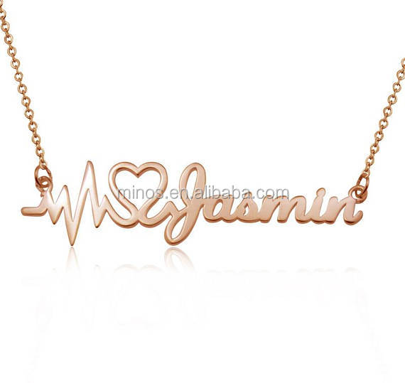 Newest necklace design for ladies custom Gold Heartbeat name Necklace wedding necklace
