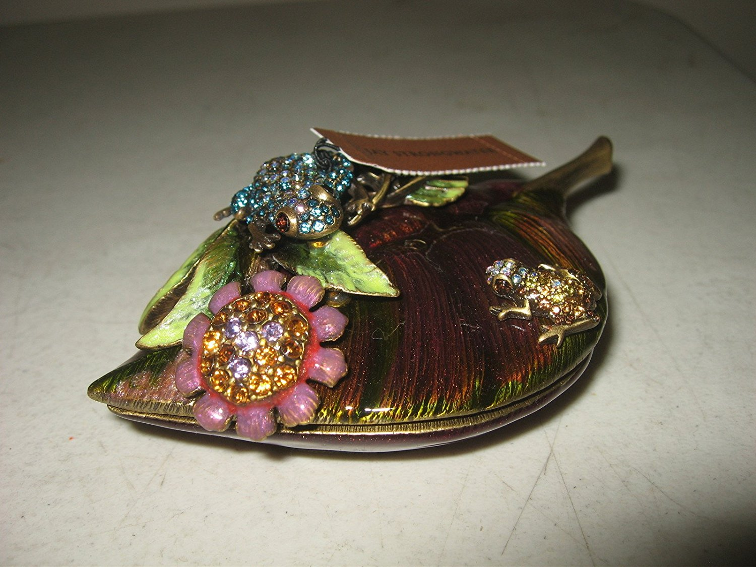 Jay Strongwater Meadow Swarovski Crystals Frogs On Leaf Shaped Box