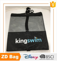 Custom sport polyester mesh drawstring bag black