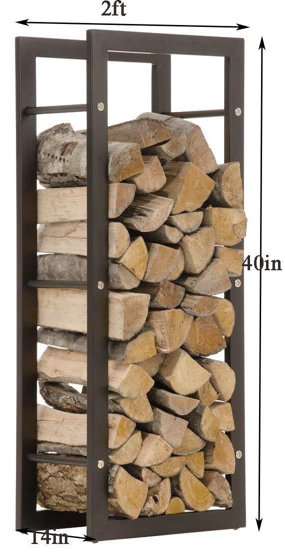 WGX Indoor/Outdoor Decorative Firewood Storage Log Rack Holder (2-Feet Log Rack&Cover)