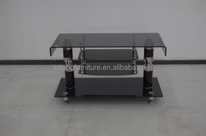 bent glass and tempered glass double shelf for cable box TV stand
