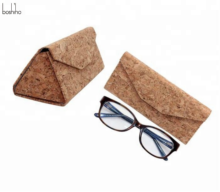 Custom Eco-friendly cork folding eyeglass sun glasses case