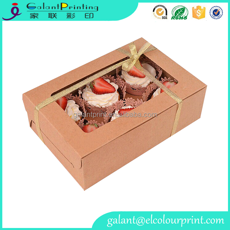 kraft paper cupcake packaging box / cake box window / cake box handle
