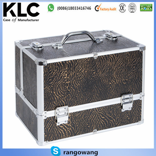 Beauty Case Cosmetic Make up Box Nail Polish Jewellery Organiser Vanity Case Extra Large Space Gold Zebra