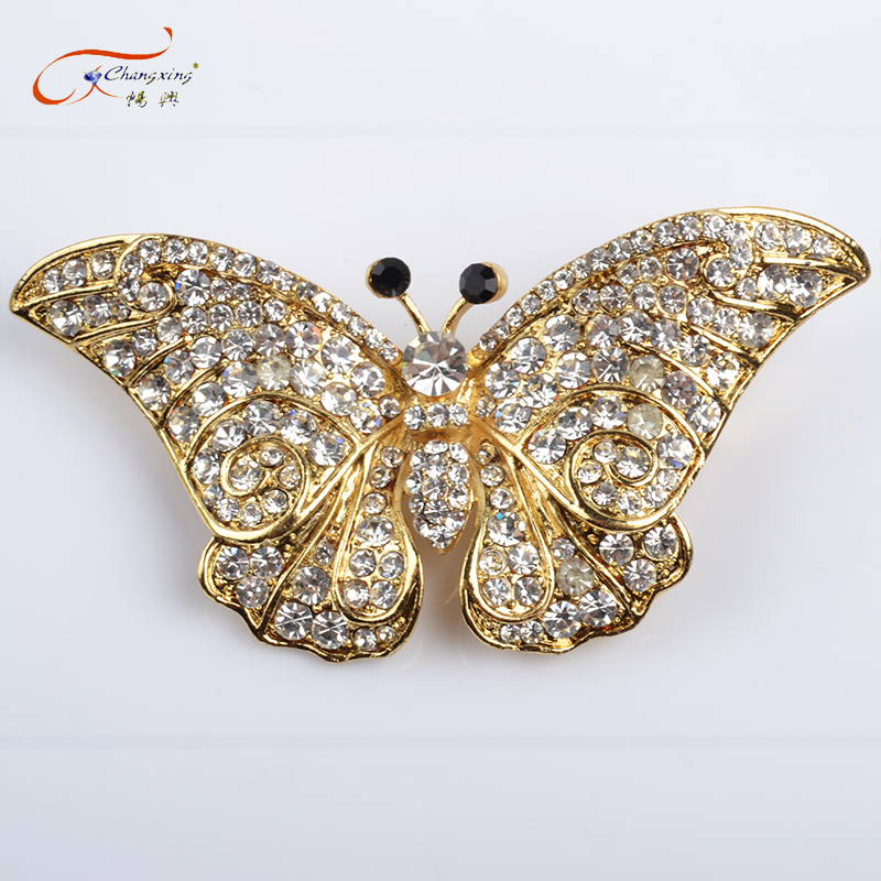 Fashion Gold Wings Butterfly Crystal Rhinestone Brooch Pin