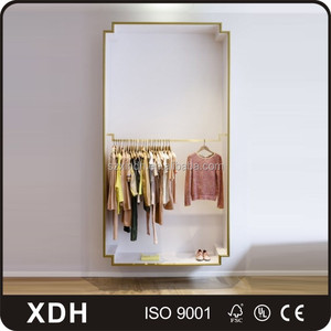 Modern wall mounted clothes display cabinet wooden garment display stand