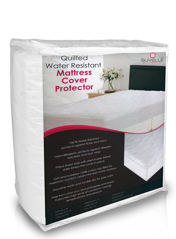 Suvelle 44 X 75 Medium Hypoallergenic Water Resistant Mattress Pad Cover Protector Vinyl Free